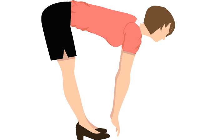 Standing hamstrings stretch exercise.