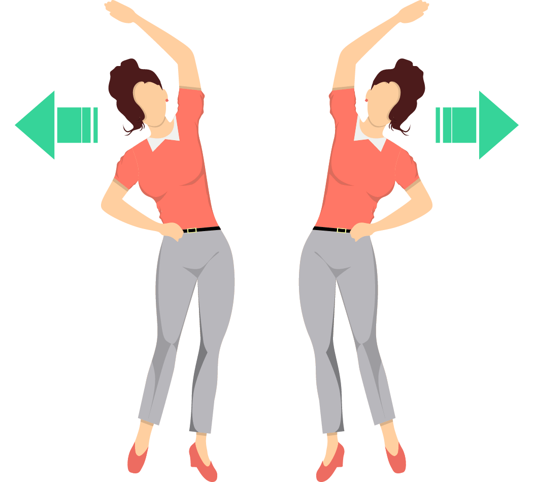 Standing lower side stretch exercise.