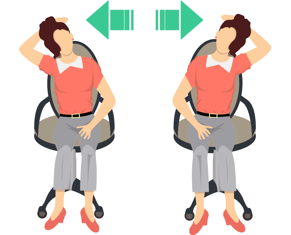 Neck side stretch exercise for improving neck flexibility and mobility.