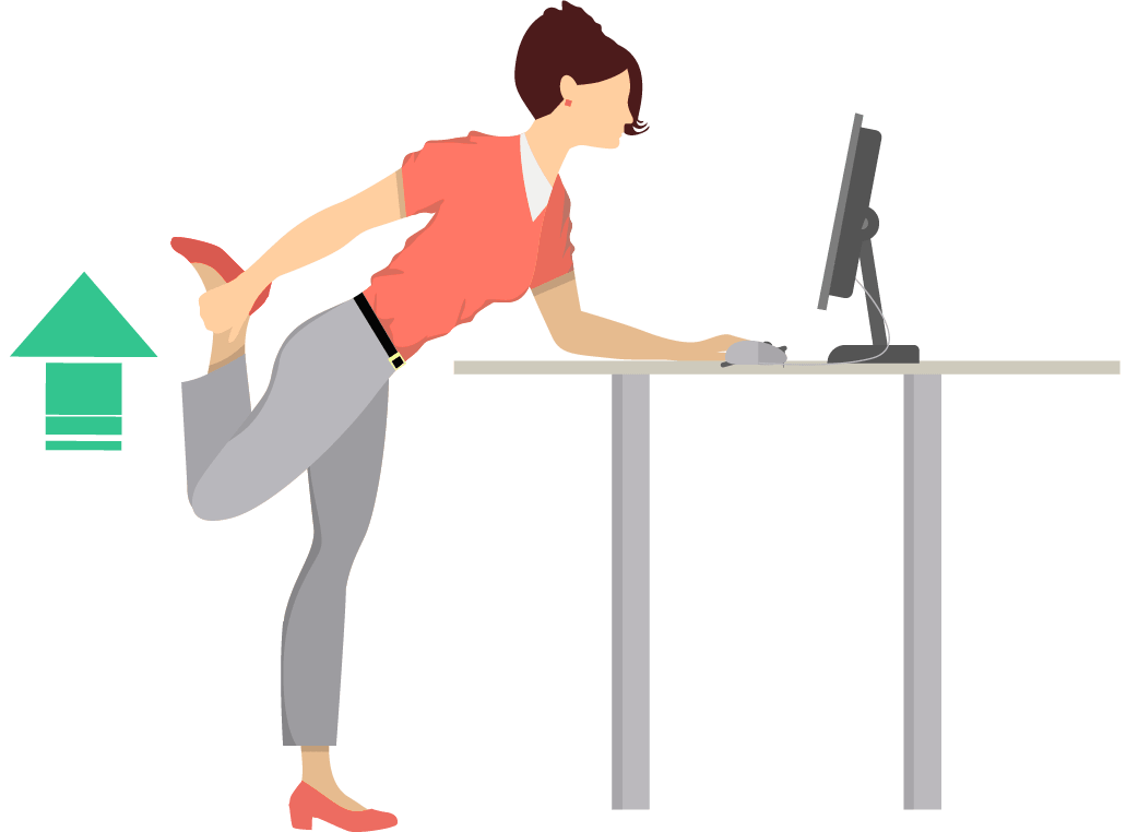 Quad stretch exercise for activating legs.