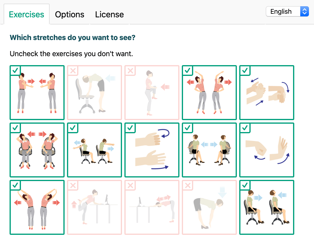 MiBreaker interface for customizing which stretch exercises to see.